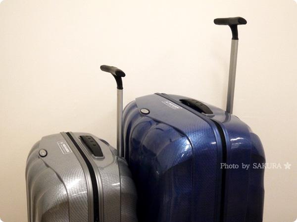 DMM.comスーツケースレンタルはSamsonite(サムソナイト) ハンドル2段階調節/モノチューブハンドル 延ばしたところ