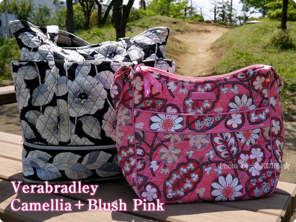 Vera bradley(ヴェラブラッドリー) Carryall Crossbody(キャリーオール・クロスボディ) Blush Pink(ブラッシュ・ピンク)とGo Round Tote(ゴー・アラウンド・トート)Camellia (カメリア)組み合わせ
