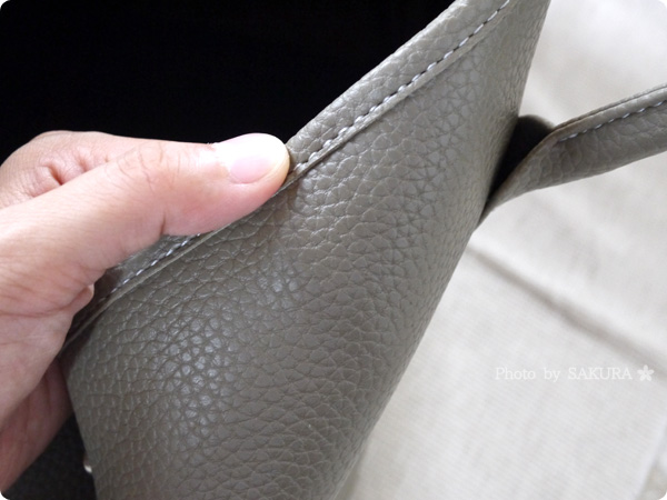 楽天市場レディースバッグ専門店ナルシャ LH-Gトートバッグ(PU) ダークベージュ しっかりとした縫製