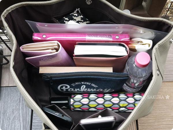 楽天市場レディースバッグ専門店ナルシャ LH-Gトートバッグ(PU) ダークベージュ かなり荷物の入るバッグ