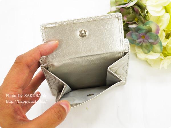 パーティードレス通販GIRL 選べる40色のガールミニ財布(三つ折り財布)  B-2型押シャンパン ローズ型押し その2