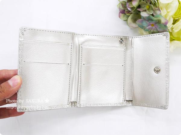 パーティードレス通販GIRL 選べる40色のガールミニ財布(三つ折り財布)  B-2型押シャンパン ローズ型押し その3