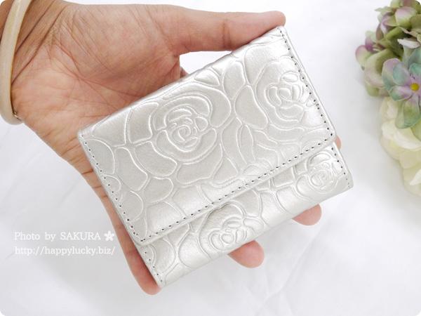 パーティードレス通販GIRL 選べる40色のガールミニ財布(三つ折り財布)  B-2型押シャンパン ローズ型押し その5