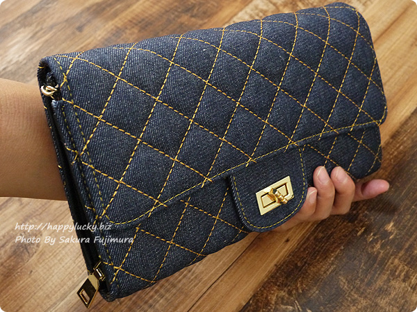 楽天市場DEVILISH TOKYO バッグ+ポシェット一体型 キルティングウォレットチェーンバッグ 手にしたサイズ