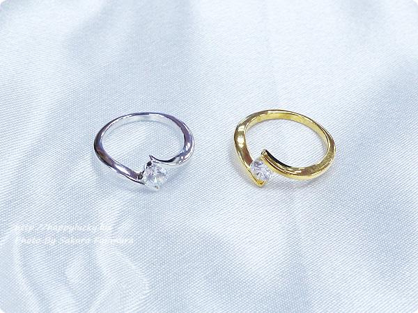 楽天市場JewelryCastle ネックレス・指輪 流線型が美しい 0.3カラット スワロフスキージルコニアデザイナーズリング SV925 プラチナ仕上/K18ゴールド仕上