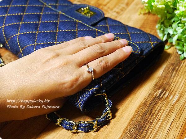 楽天市場JewelryCastle ネックレス・指輪 流線型が美しい 0.3カラット スワロフスキージルコニアデザイナーズリング 着画その1