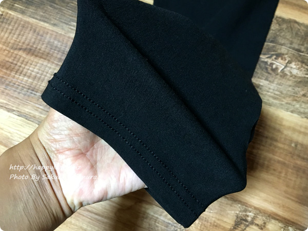 ベルーナ・RyuRyu「美ラインウエストゴムレギンス風パンツ」 ブラック 生地はよくのびる