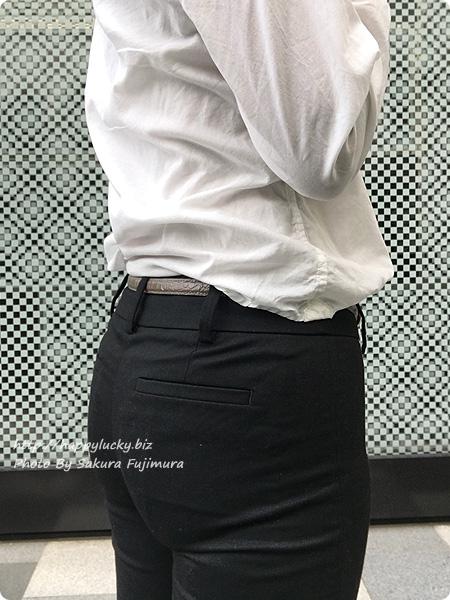 ランズエンド レディス・美型シルエット・スムーズストレッチ・体型別パンツ/A体型/テーパード/無地 着画全体 ヒップアップ