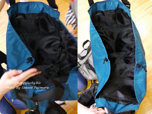 フェリシモ レジかご用バッグがスマートに変身! 大量買いもらくらく ビッグなリュックの会 広げている図
