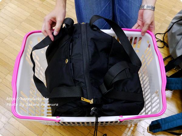 フェリシモ レジかご用バッグがスマートに変身! 大量買いもらくらく ビッグなリュックの会 蓋をしめる その3
