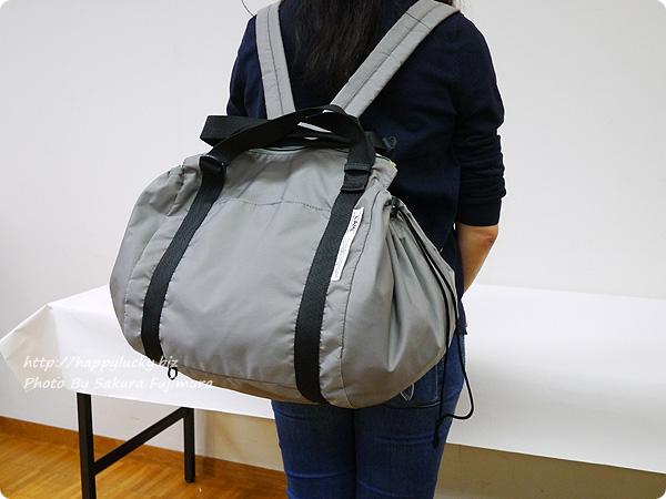 フェリシモ レジかご用バッグがスマートに変身! 大量買いもらくらく ビッグなリュックの会 リュックした着画 その1
