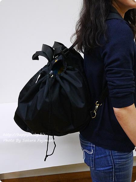 レジかご用バッグがスマートに変身! 大量買いもらくらく ビッグなリュックの会 ブラック着画 その2