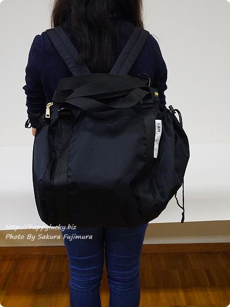 レジかご用バッグがスマートに変身! 大量買いもらくらく ビッグなリュックの会 ブラック着画 その1