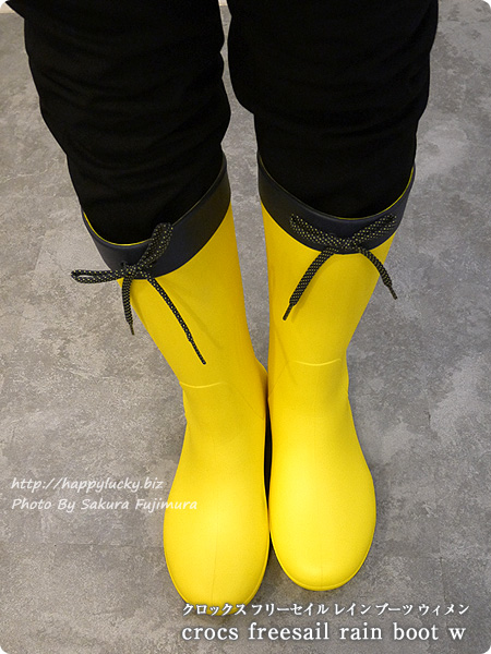 crocsクロックス2016秋冬新作レインブーツ crocs freesail rain boot w クロックス フリーセイル レイン ブーツ ウィメン Lemon イエロー 着画