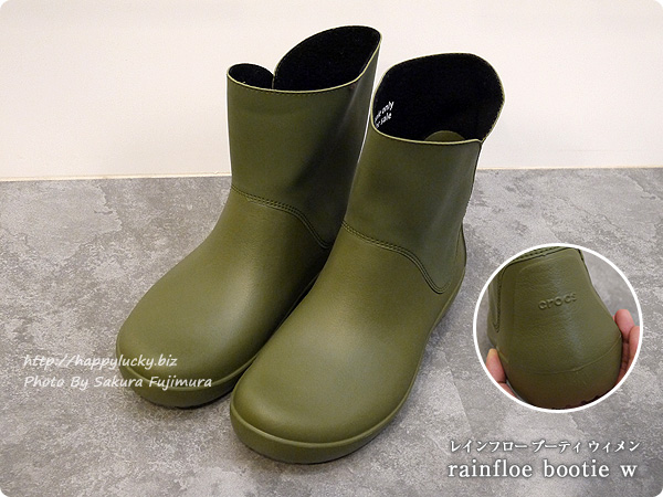 crocsクロックス2016秋冬新作レインブーツ rainfloe tall boot w(レインフロー トール ブーツ ウィメン) カーキ 全体