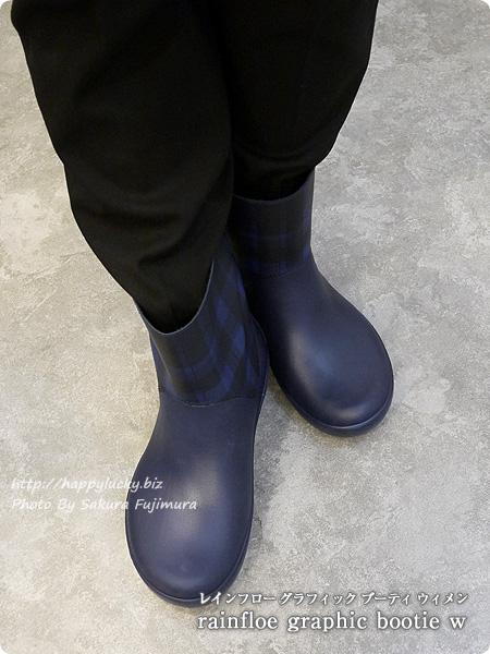 crocsクロックス2016秋冬新作レインブーツ rainfloe graphic bootie w レインフロー グラフィック ブーティ ウィメン ネイビー着画