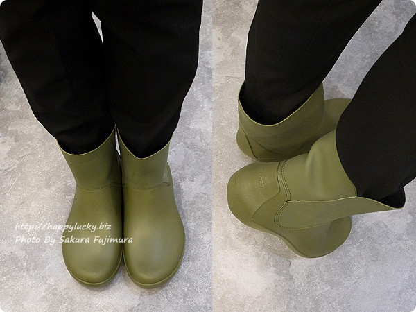 crocsクロックス2016秋冬新作レインブーツ rainfloe tall boot w(レインフロー トール ブーツ ウィメン) Army Greenカーキ 着画
