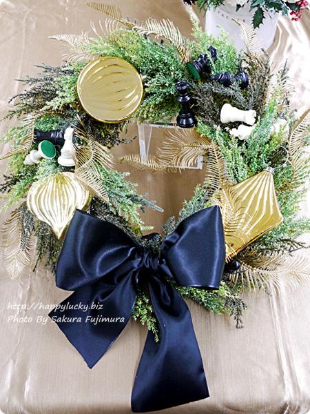 ジェーンパッカー×日比谷花壇コラボ クリスマス2016 JANE PACKER アーティフィシャルリース「キングオブゲーム」 落ち着いたチェスのリース