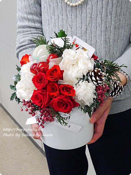 ジェーンパッカー×日比谷花壇コラボ クリスマス2016 JANE PACKER プリザーブドアレンジメント「ハートのA」 サイズ感