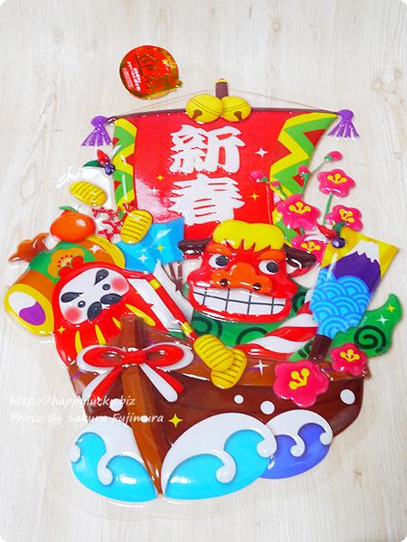 ダイソーオリジナルのお正月用品 壁飾り 迎春超Bigクリアパネル(獅子舞)