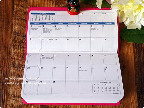 ロフト限定2017年手帳QuoVadis(クオバディス)パピエティグル ビソプランマンスリータイプ 月間カレンダー