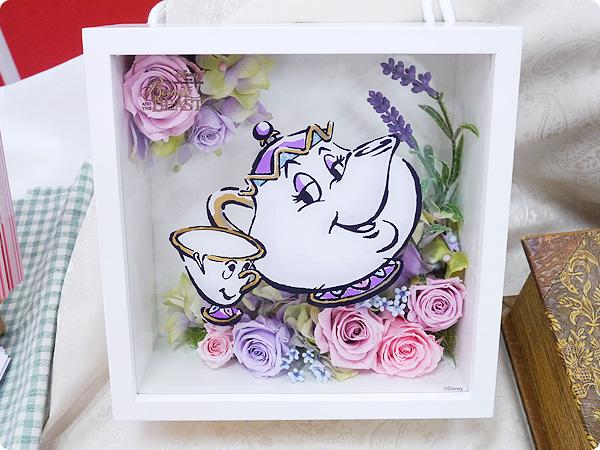 日比谷花壇 母の日 ディズニー フラワーフレームアート「ポット夫人とチップ」(ディズニー映画 『美女と野獣』より)