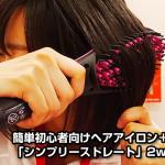 初心者向けヘアアイロン+ブラシ「シンプリーストレート」2WAYヘアブラシ<ショップジャパン>