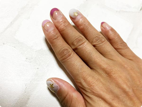 フェリシモ「IEDIT どんなつめでもOK! フレンチデザインのネイルシールの会」 ジェルネイルシール 右手に貼ってみた