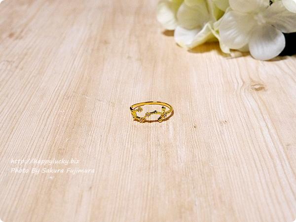 12星座モチーフの指輪(リング)ゴールド 蠍座 全体