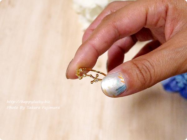 12星座モチーフの指輪(リング)ゴールド 蠍座 アップ