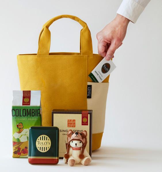 タリーズコーヒー福袋「2018 HAPPY BAG」3,000円 限定トートバッグ(マスタードイエロー/ネイビー)