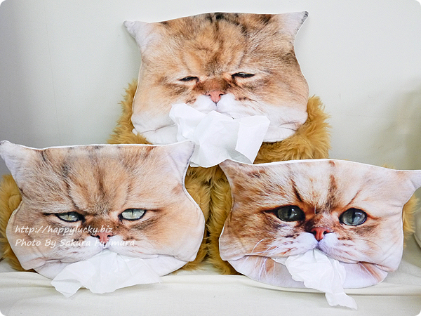 FELISSIMO(フェリシモ) フェリシモ猫部「しょんぼり顔のふーちゃんとコラボ! 三角お口からティッシュがペロリ もふもふティッシュカバーの会」3種類