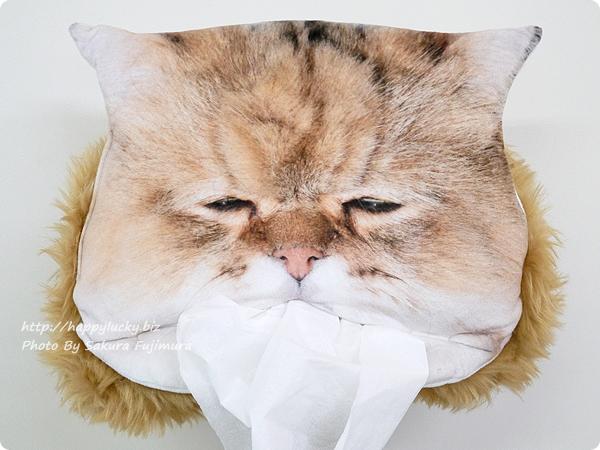 FELISSIMO(フェリシモ) フェリシモ猫部「しょんぼり顔のふーちゃんとコラボ! 三角お口からティッシュがペロリ もふもふティッシュカバーの会」しょぼん顔