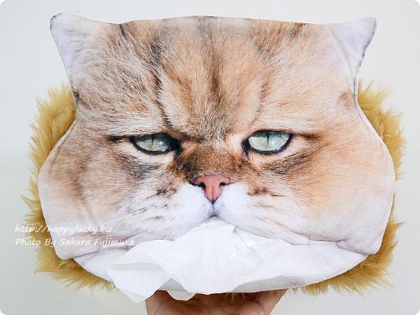 FELISSIMO(フェリシモ) フェリシモ猫部「しょんぼり顔のふーちゃんとコラボ! 三角お口からティッシュがペロリ もふもふティッシュカバーの会」 長老顔