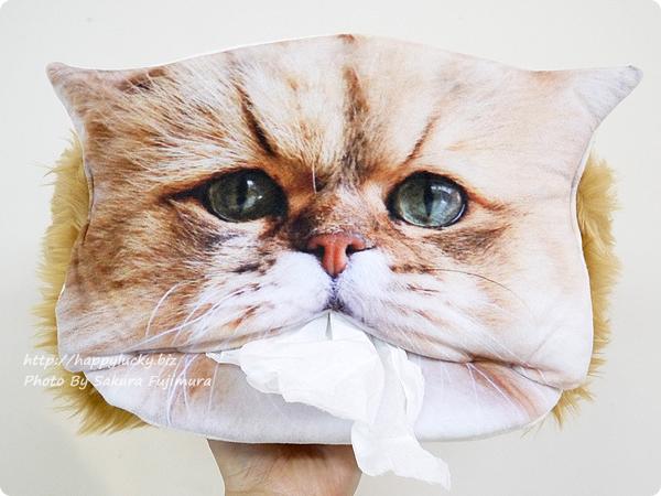 FELISSIMO(フェリシモ) フェリシモ猫部「しょんぼり顔のふーちゃんとコラボ! 三角お口からティッシュがペロリ もふもふティッシュカバーの会」キュート顔
