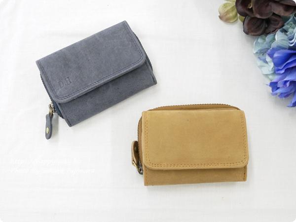 ミニレザーウォレット 本革ミニ財布 三つ折りコンパクト【名入れ可】 キャメル・ネイビー