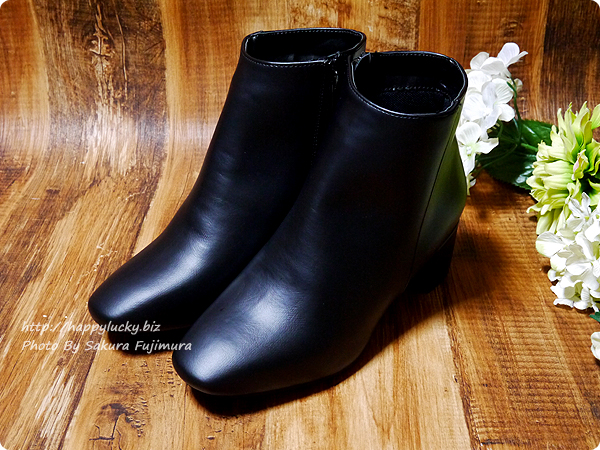 アウトレットシューズoutletshoes「ベーシックデザインショートブーツ」ブラックpu 全体
