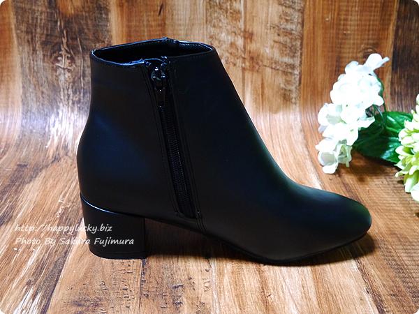 アウトレットシューズoutletshoes「ベーシックデザインショートブーツ」ブラックpu ヒールの高さは太めミドルヒール5cm