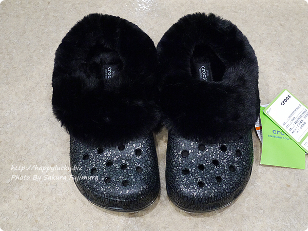 crocs クロックス Classic Mammoth Luxe Radiant Clog(クラシック マンモス ラックス ラディアント クロッグ)落ち着いた黒 全体