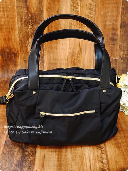 FELISSIMO(フェリシモ)IEDIT[イディット] 大きく開いて中が見やすい 軽やかきれいな大人ナイロンボストンバッグ〈ブラック〉 荷物を入れた全体