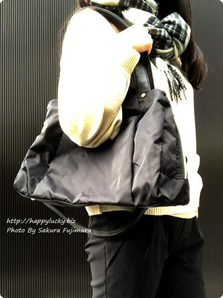 FELISSIMO(フェリシモ)IEDIT[イディット] 大きく開いて中が見やすい 軽やかきれいな大人ナイロンボストンバッグ〈ブラック〉 着画その1