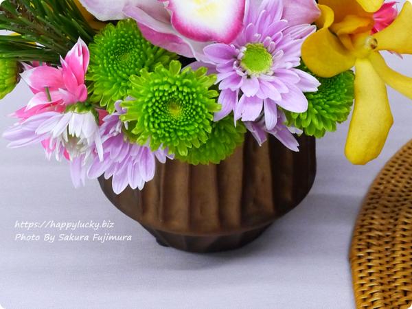 【お正月2019】日比谷花壇 とらや「干支小形羊羹5本入」とアレンジメントのセット 花器は陶器