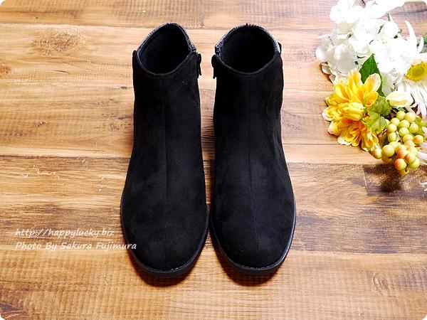 ミンキーミー レディース靴 専門店 cocoa(ココア) 軽量ソール&ローヒール ベルテッド ショートブーツ  ブラックチェック 正面