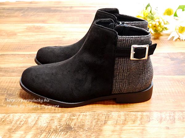 ミンキーミー レディース靴 専門店 cocoa(ココア) 軽量ソール&ローヒール ベルテッド ショートブーツ  ブラックチェック サイド