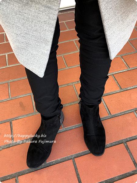 ミンキーミー レディース靴 専門店 cocoa(ココア) 軽量ソール&ローヒール ベルテッド ショートブーツ  ブラックチェック 着画アップその1