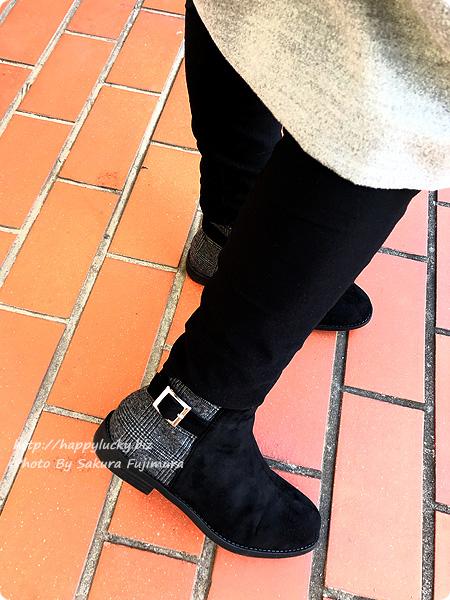 ミンキーミー レディース靴 専門店 cocoa(ココア) 軽量ソール&ローヒール ベルテッド ショートブーツ  ブラックチェック 着画アップその2