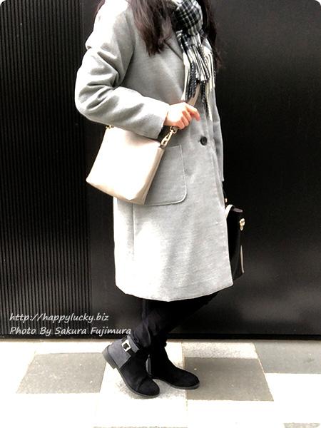 ミンキーミー レディース靴 専門店 cocoa(ココア) 軽量ソール&ローヒール ベルテッド ショートブーツ  ブラックチェック 着画全体その2