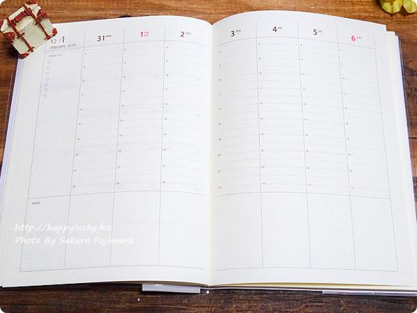 100円ショップ Seria(セリア)B6サイズ手帳「週間バーチカル見開き2019年1月はじまり」週間バーチカル見開き