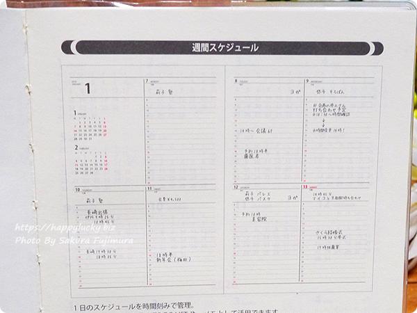 【100均セリア】B6サイズ手帳「週間バーチカル見開き2019年1月はじまり」週間バーチカル見開きサンプル