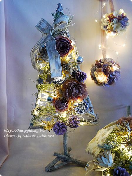 日比谷花壇 クリスマス アーティフィシャルツリー「シュマン」LED点灯時
